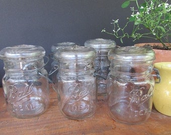 Vintage Mason Jar Ball or Atlas E Z Seal Pint Size Clear Glass Jar Rustic Wedding Canning Jar