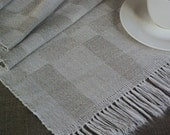 Hand weaved vintage runner natural gray white checked linen table topper in retro style