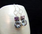 Alexandrite & amethyst Silver Dangle Earrings