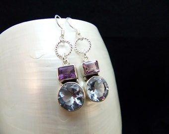 Alexandrite & amethyst Silver Dangle Earrings