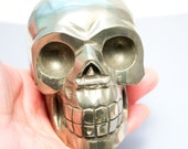 Pyrite Fools Gold Crystal Skull Giant Sized Hand Carved 3 3/4 Inches Helps Create Large Cash Flow!