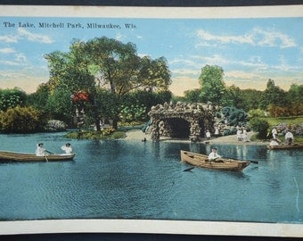 Lake Mitchell Park, Milwaukee, Wisconsin, Vintage Postcard Rowboat, Vintage Clothing