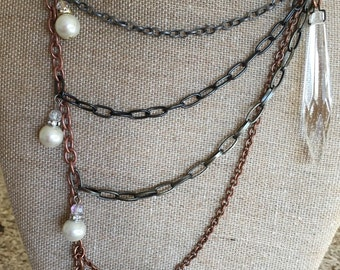 "Cool ""crystals and pearls"" mixed metals necklace!"