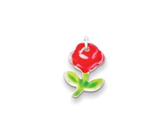 Sterling Silver Enameled Rose Charm