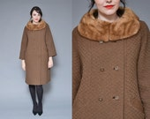 Fur collar coat 50s wool coat brown mink collar brown double breasted button up ribbed winter princess coat large