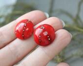 Handmade Lampwork Beads - Set of 2 Glass Lentil Focal Beads, Lampwork Beads, Floral Lampwork, Lampwork Glass Beads, Lampwork, Handmade Beads