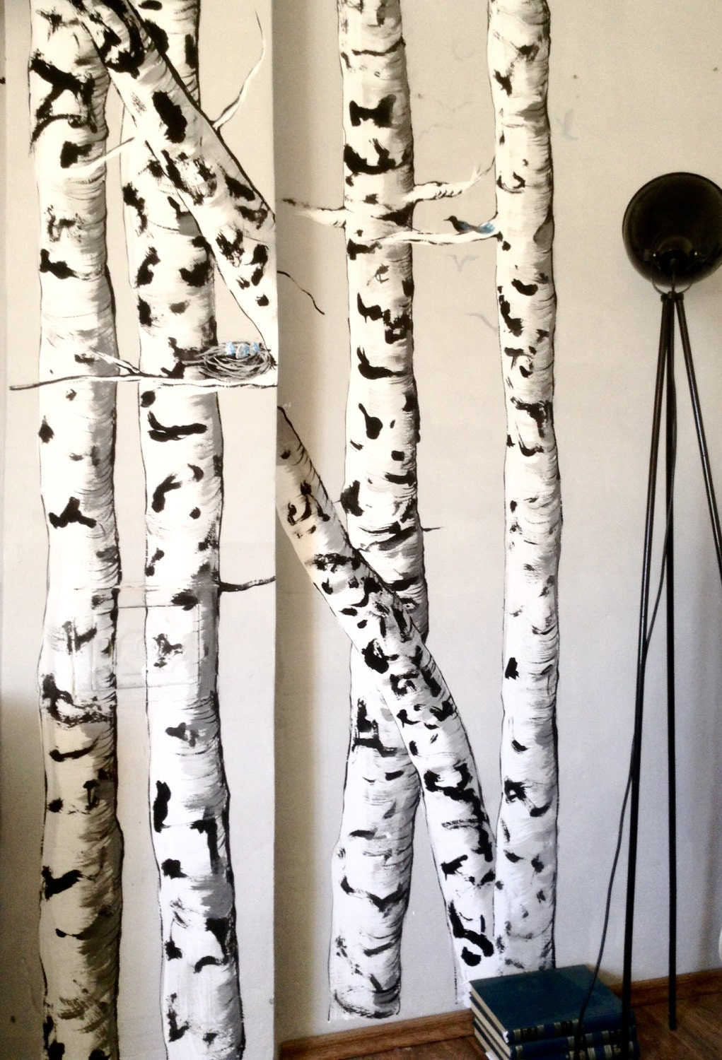 Birch tree forest wall mural nature diy pdf tutorial for Birch wall mural