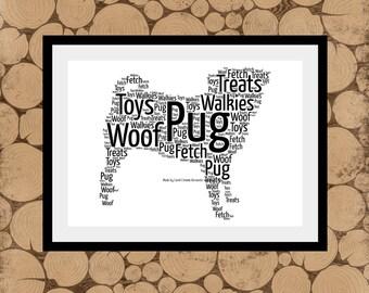Pug Word Art, Personalised Pug Dog Print, Pug Dog Word Art, Pug Word Collage, Pug Word Cloud, Pug Dog Word Cloud, Pug Print,Personalised Pug