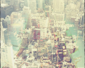 Financial district, Skyline Photography, NYC, downtown Manhattan, New York City, map, clouds, FREE SHIPPING!