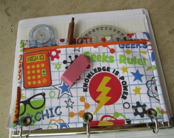 Geek chic back to school grommet pencil case for three ring binder; orange zip and lining