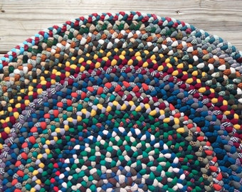 Multi-Color 31 Inch Round Braided Wool Rug