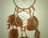 Copper Leather Druzy Dream Catcher,Prayer Feather, with ceramic beads,Ostrich feathers,pheasant feathers,double ring dreamcatcher