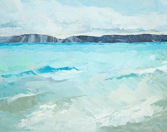 Art card print- Blue Waves-   by Lauriann Wakefield  of Bear Lake