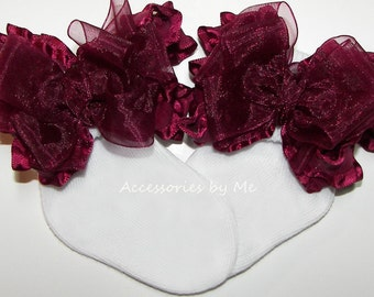 Frilly Bow Socks, Baby Girls Burgundy Wine Socks, Infant Toddler Accessories, Dress Up Pageant, Wedding Socks, 1st Birthday Party Occasions