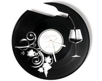 Vinyl clock wine