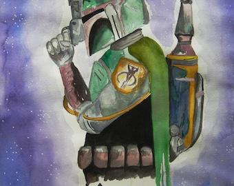 Boba Fett Galaxy Watercolor REPRODUCTION PRINT