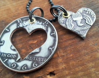 1966 51st Birthday Silver Heart Half Dollar Necklace 51st Anniversary 51st Birthday Coin Jewelry made from a 1966 Silver Half Dollar