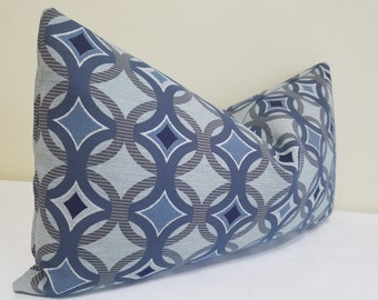 Sunbrella Lumbar  Pillow Cover in blue Gray and Blue - Indoor/Outdoor Sunbrella Pillow- Deck Pillow Cover, Outdoor Cushion 14 x 24