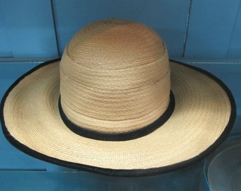 Vintage 1930's Straw & Black Velvet Wide Brim Cartwheel Kentucky Derby Sun Hat
