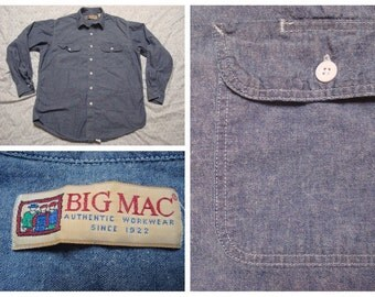 Vintage Retro Men's Big Mac Workwear Blue Chambray Long Sleeve Buttonup Shirt Cotton Large 16 - 16.5