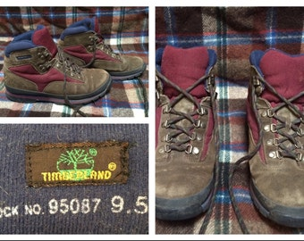 Vintage Retro Men's Timberland Hiking Boots Red Blue Brown Leather Ankle Boots Mens size 9.5 Womens size 11