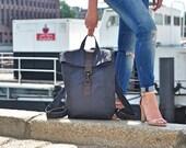 Dunkel grau Canvas Rucksack , Leder Tasche, wasserabweisend, Laptop Tasche, Segeltuch, Herren Tasche,Damen Tasche,Unisex, Reise Tasche, bag
