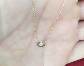 14k Gold Tiny Evil Eye Necklace with Diamond