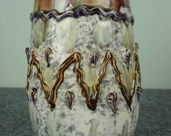 Italian Pottery Vase in Pink, Gray and Brown