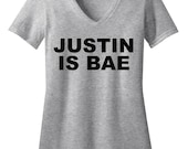 Justin is Bae - Justin Bieber Shirt - Concert Tshirt - Womens V-Neck Shirt