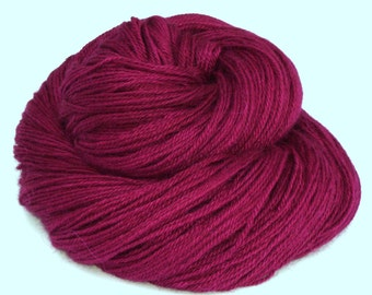 Hand dyed yarn - Heavy Lace weight Baby Alpaca, silk and cashmere- ripe raspberry