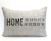 "housewarming gift, longitude latitude pillow, christmas gift, wedding gift, coordinates pillow, gift for her, mother's day gift ""The Home 2"""