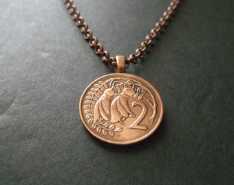 New Zealand Coin Necklace - New Zealand Coin Pendant - New Zealand  Coin Necklace