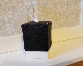 Black Glitter Favour Boxes