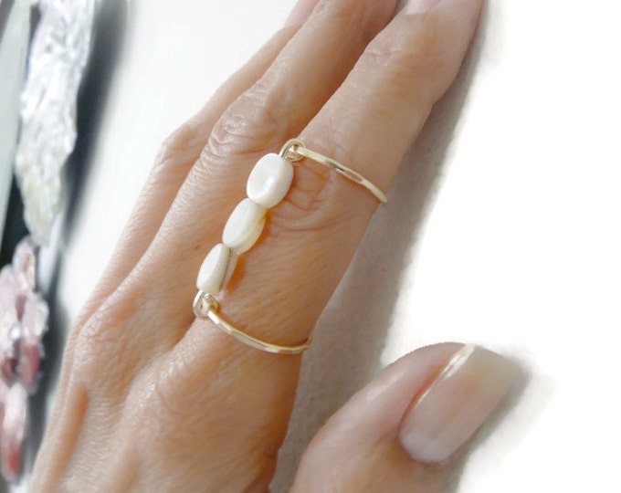 Index Ring//Gold Filled Rings//Mother of Pearl//Handmade Jewelry For Her
