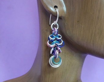 Niobium and Sterling Silver Chainmaille Four in One Ripple Earrings