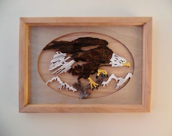 Handmade scroll sawed wooden Framed Eagle Picture