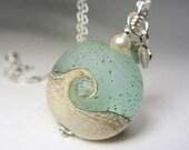 Ocean Wave Necklace Seafoam Artisan Lampwork Pendant Necklace Blue Green Nautical Handmade Summer Necklace Ocean Lampwork Necklace Sea Glass