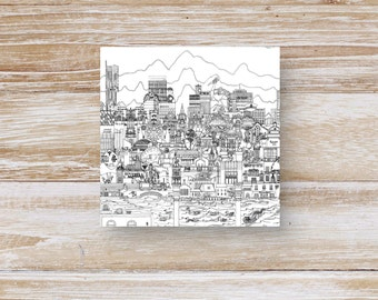 Manchester Skyline Black and White Greeting Card