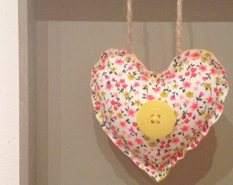 Hanging Heart in sunshine yellow, perfect for Mothers Day, Springtime wedding or a Birthday
