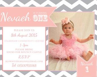 Chevron & pink banner invitation birthday party christening