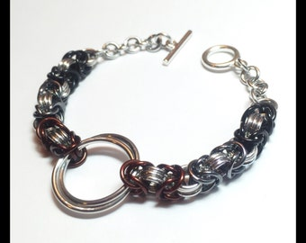 Ombre Byzantine Chainmaille Bracelet - Black - Grey - Brown