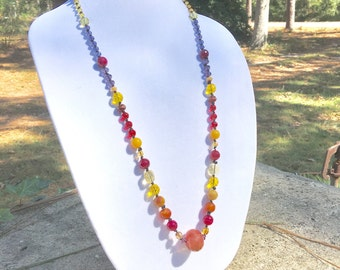 Beautiful Vintage Glass & Gemstone Beads Statement Necklace