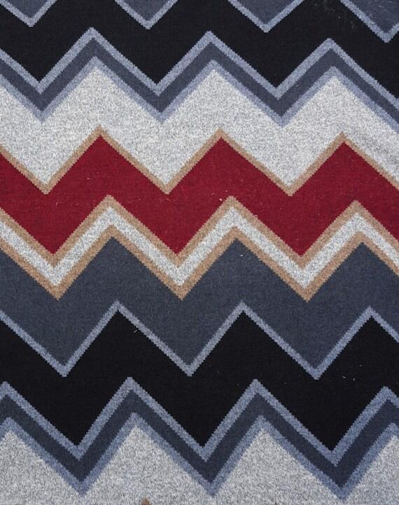 Sweater Knit Fabric Chevron Zig Zag Design Burgundy Black