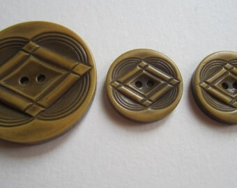 Group of 3 Vintage Celluloid Buttons