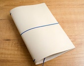 Handmade Leather Traveler's Notebook, Midori style in Regular/Wide size - Natural Leather