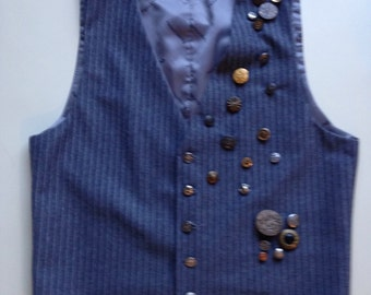 Vintage 1970's 1980's Gray Wool Pinstriped Pendleton Menswear Vest Waistcoat with Vintage Buttons - 40 regular