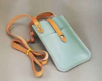Leather iPhone 6 PLUS Crossbody Wallet, Periwinkle Blue w Natural Straps 2 Card Pockets