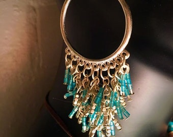 Boho Blue and Silver Beaded Hoop Earrings