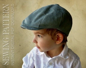SEWING PATTERN - Taylor, 1920's Gatsby Newsboy Driving Cap for Child or Adult