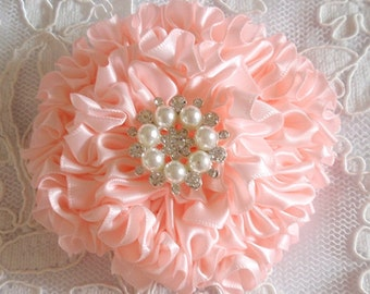 Handmade Ribbon Flower With Pearls Rhinestone (3.5 inches) In Lt pink MY-445-11 Ready To Ship